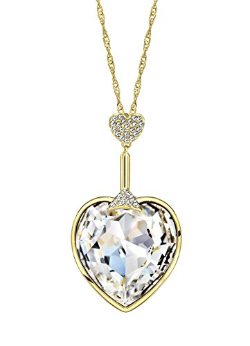 Ananth Jewels Swarovski Elements White Austria Crystal  Heart Shaped Long Chain Necklace for Women