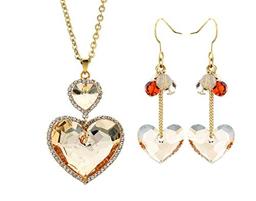 Ananth Jewels Swarovski Crystal Love Heart Gift for Valentine Girlfriend Gold Plated Necklace & Earrings for Women Wife