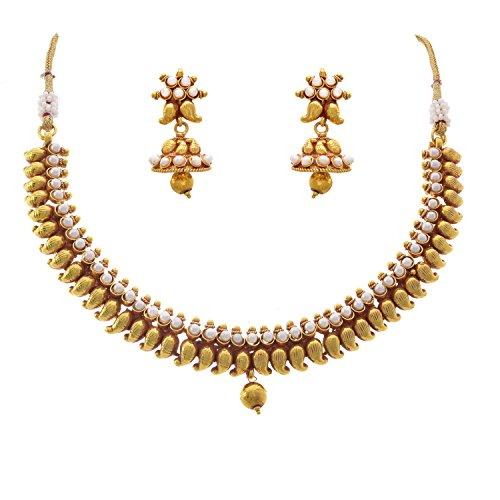 JFL – Traditional Karismatic Kemp Kaerie Designer One Gram Gold Plated White Pearl Necklace Set with Earring for Women and Girls
